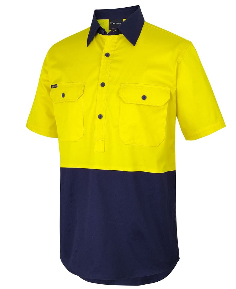 6HVCW Hi Vis Close Front S/S 150g Work Shirt