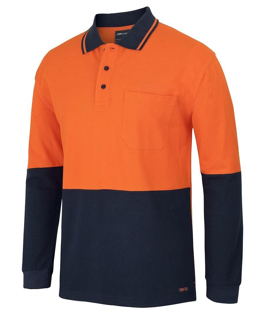6HVQL Hi Vis L/S Cotton Pique Trad Polo